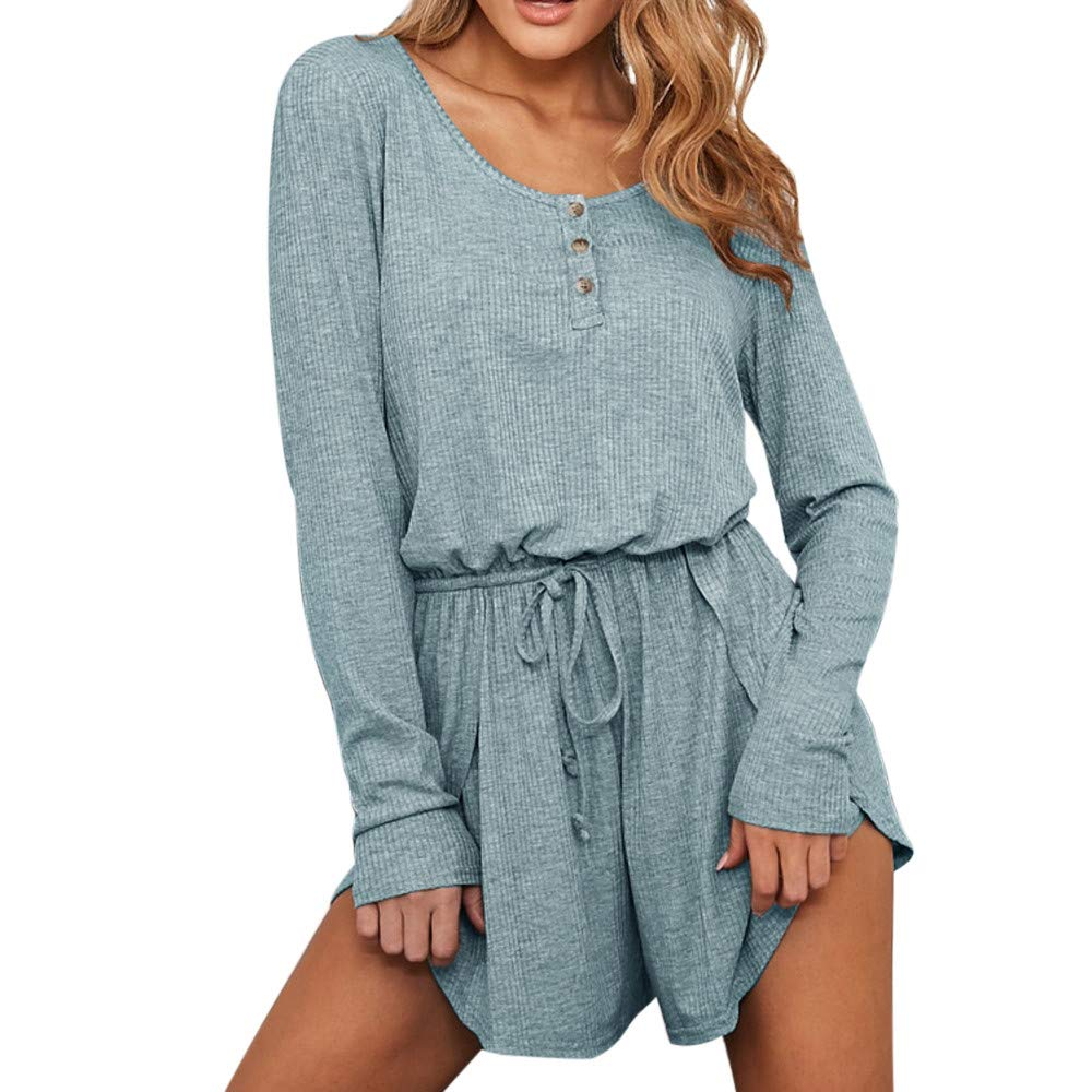 Women Sexy Fashion Solid Long Sleeve O-Neck Bandage Button Jumpsuits Playsuit Blue
