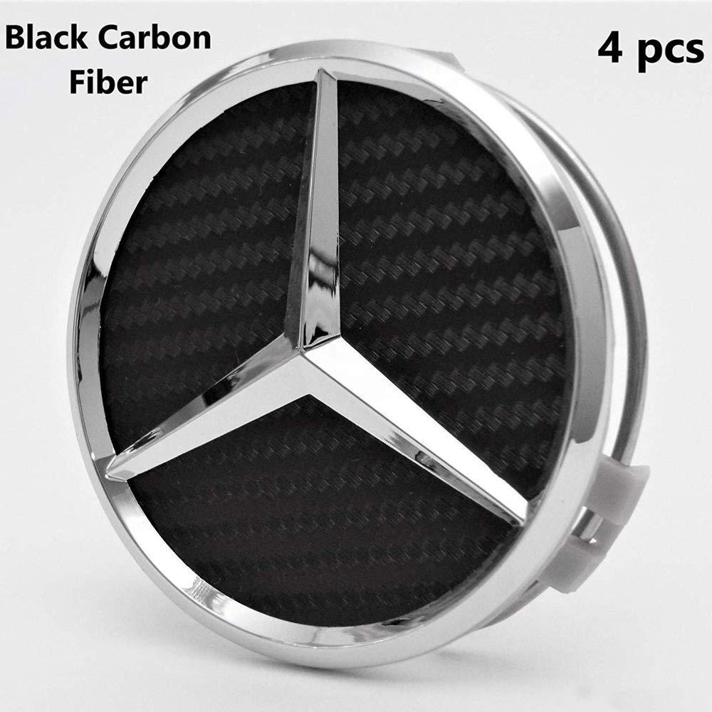 4Pack Mercedes Benz Wheel Center Hub Caps Emblem,75mm Rim Black Carbon hubcaps Fit Benz C ML CLS S GL SL E CLK CL GL Center Cap Badge Black Carbon