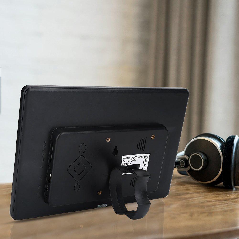 Nero Garsent Cornice digitale da 10 pollici,alta risoluzione 1024x600 Supporta calendario orologio Lettore MP3 Scheda video 32G SD Cornice Foto Digitale con telecomando