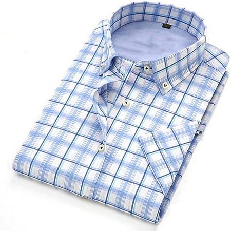 NSSY Camisa de Hombre Camisa de Manga Corta Hombres, Verano, Doblar hacia Abajo, Vestido a Cuadros, Camisa, Hombres, XXXL: Amazon.es: Hogar