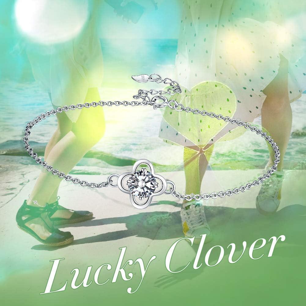Facilement Ajustable. 4 cm Micory Bracelet de Cheville Tr/èfle Argent Sterling 925 Femme Bracelet de Cheville 22