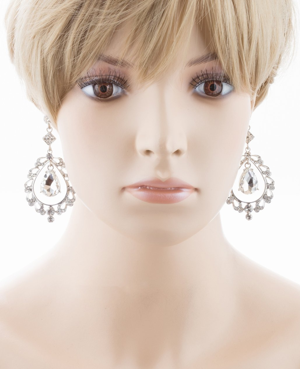 Bridal Wedding Crystal Rhinestone Teardrop Open Dangling Drop Fashion Earrings by Accessoriesforever (Image #1)