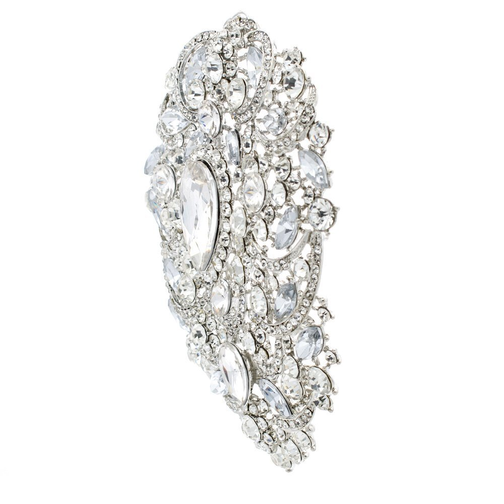 4e049d170d2 Amazon.com: SEPBRIDALS SEP 4.9IN Rhinestone Crystals Large Egg Shape Brooch  Broach Pins Women Jewelry Accessories 4045 (Clear): Jewelry
