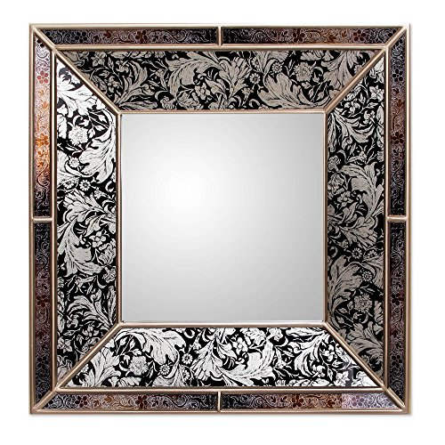 NOVICA Black and Silver Reverse Painted Glass Frame Square Wall Mirror, Majestic' (Mirror Unusual Frames)