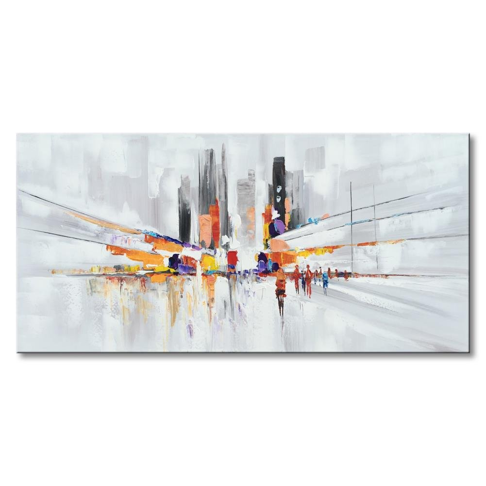 Huge Modern Cityscape Canvas Art Framed Contemporary Large City Artwork Abstract Wall Decor Handmade People Color Street Picture Ready to Hang Textured Decoration 60x30 by Everlands Art