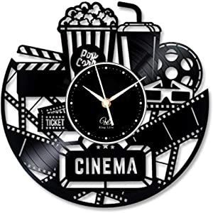 Cinema Vinyl Wall Clock-Unique Home Theater Movie Night Film Reels Popcorn Wall Decor Home Decorations-Best Gift for A Movie Lover Unique Gift to Your Friends and Family for Any Occasion