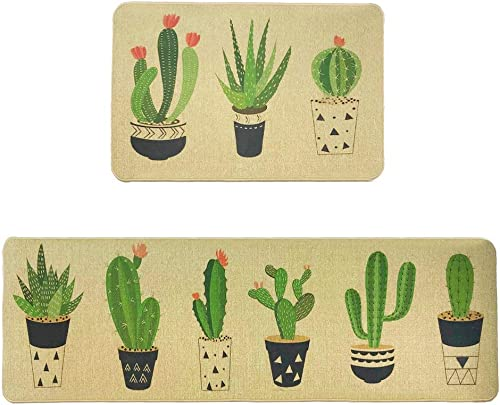 Wolala Home Natural Rubber Non-Slip Absorbent Oil Proof Kitchen Rug and Carpet Cactus Comfortable Resist Fatigue Foot Mats 2pcs Sets 18 x29 18 x59