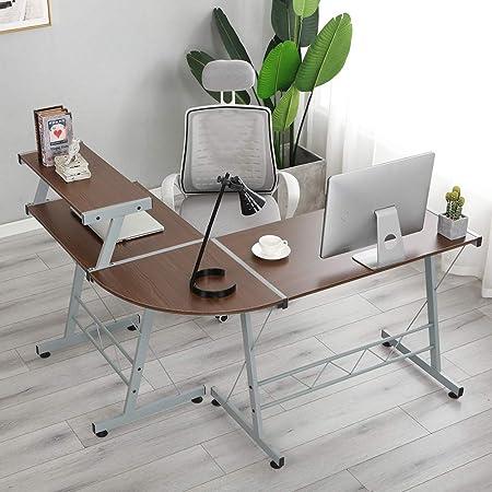 soges Mesa en Forma de L Escritorio en Forma de Esquina Mesa de la Oficina Oficina de Juegos Mesa de Estudio de Juegos Grandes Oficina en casa,DX-402C1-BS: Amazon.es: Hogar