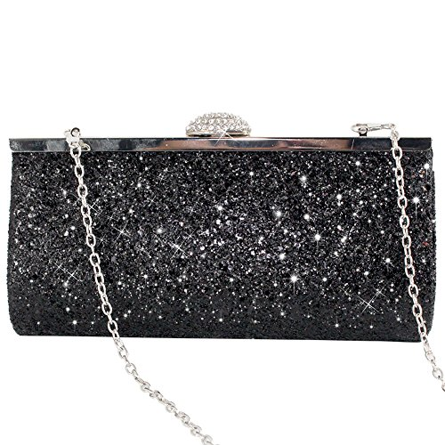 Silver Bridal Bag Party Black Womens Clutch Black Glitter Sparkly Wocharm Prom Gold Evening qwE0AzF