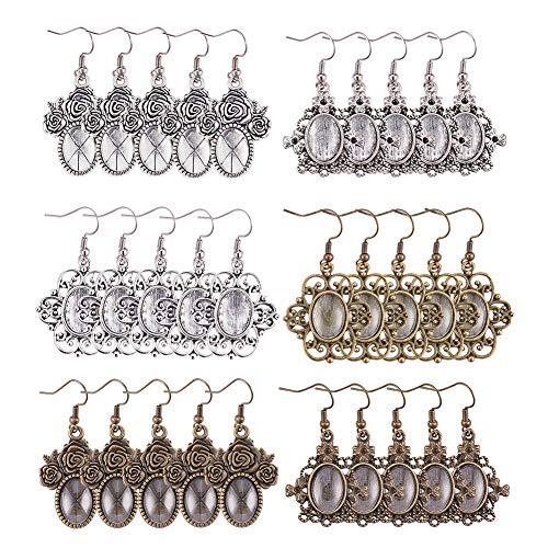 PH PandaHall 36pcs 3 Styles Tibetan Alloy Pendant Tray Bezel Cabochon Settings, 40pcs Oval Transparent Glass Cabochons and 40pcs Brass Earring Hooks (Antique Silver & Bronze)