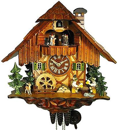 Alemán Reloj de cuco - estilo Chalet - mecanismo con cuerda para 1 día - 35