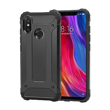 Funda Xiaomi Mi 8 + Cristal Templado, Weideworld Robusta Armadura Híbrida TPU + PC [Doble Capa] Carcasa de Protección Hibrida Armadura Funda para ...