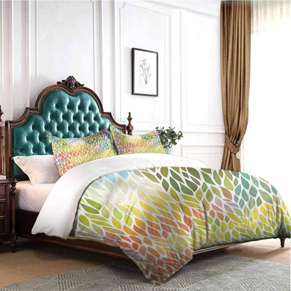 Jktown Autumn Light-Weight Microfiber Duvet Cover Set Seasonal Colorful Foliage 100% Cotton Bedding Twin