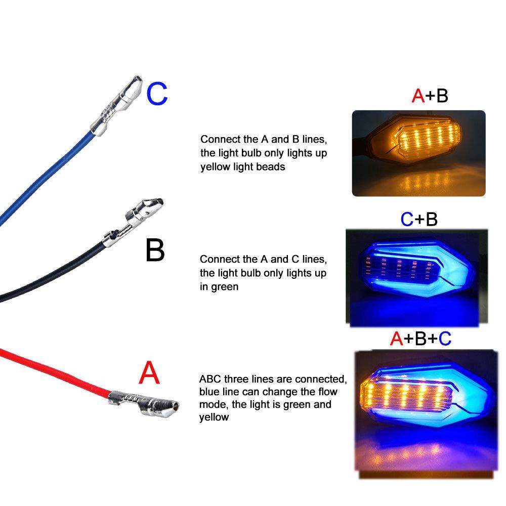 Dunhil 5559074025 Blue+Yellow Twice color 2x Universal Motorcycle Bike LED Turn Signal Blinker light Indicator