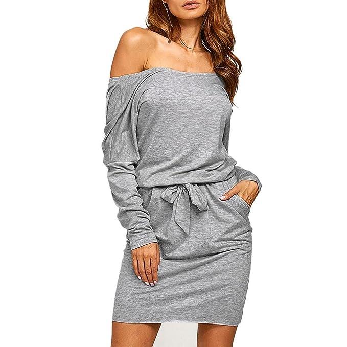da15bf8a9803 Elecenty Damen Kleid Rückenfrei Blusekleid Sommerkleid Solide Rock Mädchen  Taschen Elastisch Kleider Frauen Mode Minikleid Langarm
