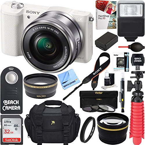 Sony Alpha a5100 HD 1080p Mirrorless Digital Camera White + 16-50mm Lens Kit + 32GB Accessory Bundle + DSLR Photo Bag + Extra Battery + Wide Angle Lens + 2x Telephoto Lens + Flash + Remote + Tripod (Control Sony Camera)