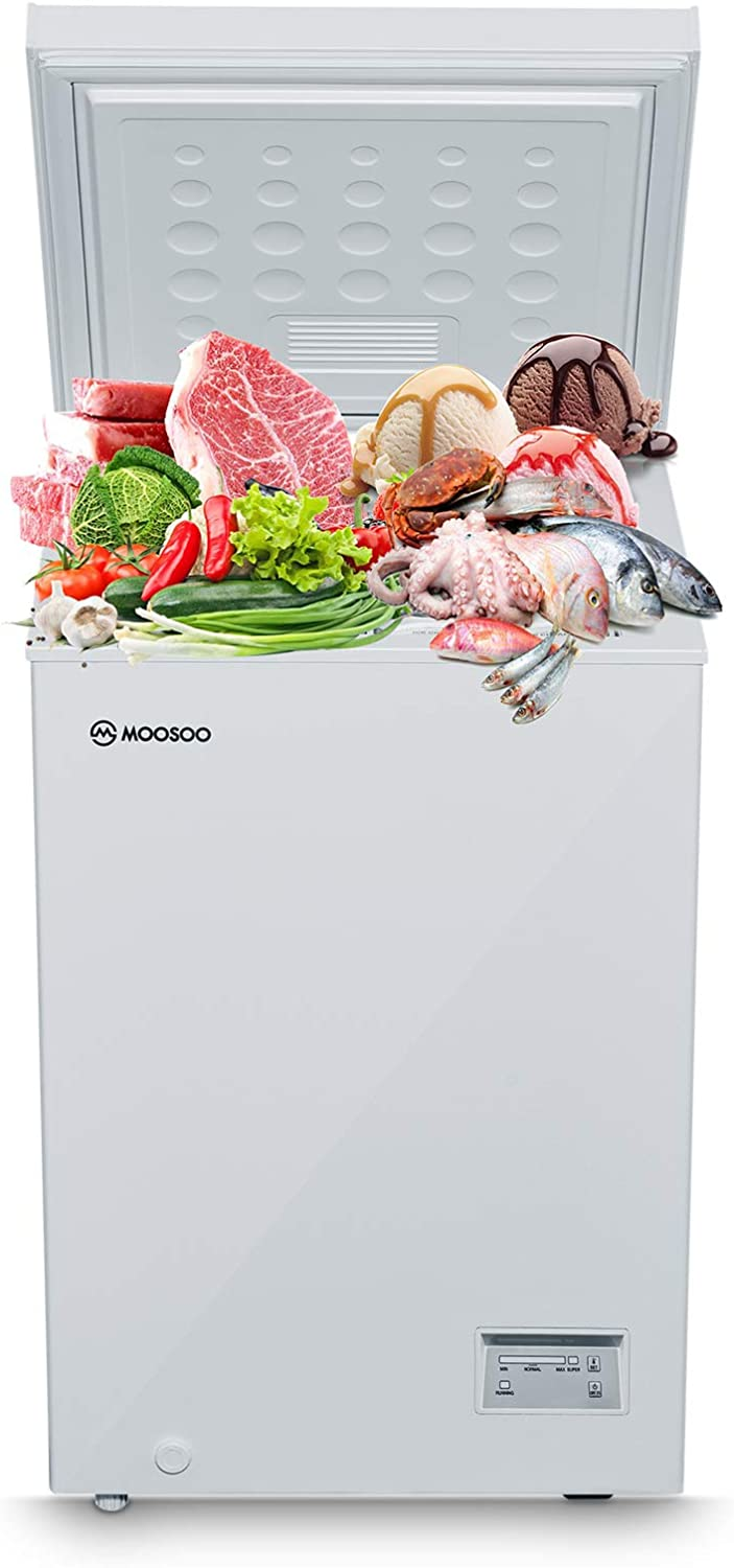 3.5 Cubic Feet with Removable Storage Basket MOOSOO Chest Freezer MD35B