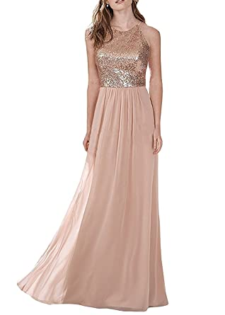Ruisha Rose Gold Chiffon Top Sequins Bridesmaid Dresses Formal Party Prom Gowns for Women RS0007 US