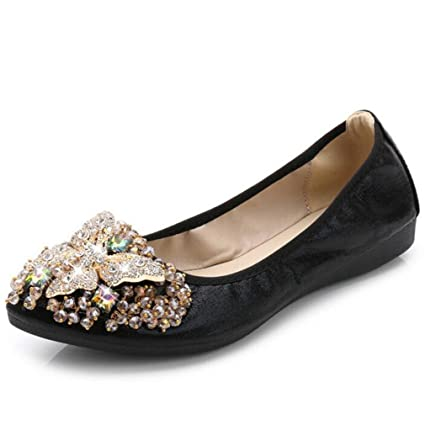 2c11be064d07b5 Suvoreal Rhinestone Ballet Flat Shoes Women Butterfly Pointed Toe Golden  Shoes Loafers Black 4.5