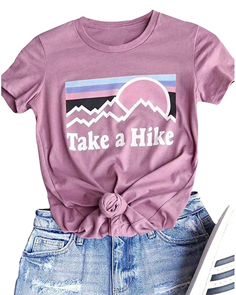 524435f3fd15 Features: Short Sleeve, Crew Neck, Regular Fit, Take A Hike Letter Printed  Womens Casual Take A Hike Letter Print T-Shirt Short Sleeve Hiker Tee Tops