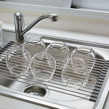 Kitchen Sink Drain Rack Amazon blu pier over the sink dish drying rack stainless steel blu pier over the sink dish drying rack stainless steel space saving rollable dish workwithnaturefo