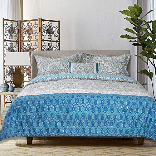 GS Home Fashions Explore Brand 4 Piece Aegean Comforter Set 100% Cotton, F/Q Size, Arabesque with Contrasting Patterned Bands, 1 Comforter, 2 Shams and 1 Pillow