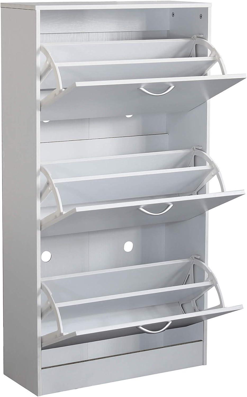 Milani Home s.r.l.s cm 60 x 24 x 115 h Scarpiera con 3 Ante in Legno di Design Porta Scarpe di Alta qualit/à