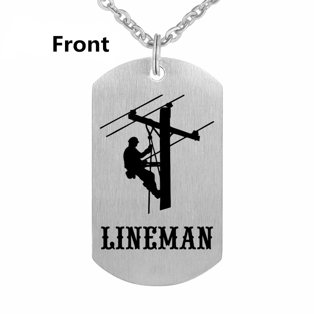 Lineman Prayer Necklace Stainless Steel Dog Tag Gift Idea from Wife Pendant Keyring by Freedom Love Gift (Image #2)