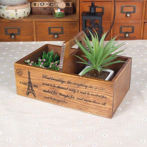 Chris.W Portable Wooden Double Holder Flower Pot w/ Handle, Bonsai Planter for Succulent Plants, 2-Compartment Office/Home Sundries Organizer Basket