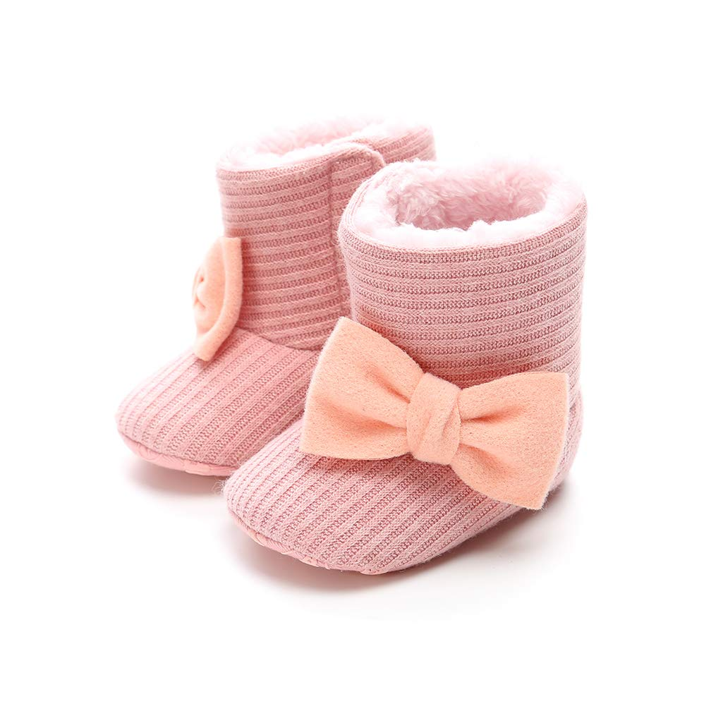 AUPUMI Baby Boys Girls Snow Boots Infant Warm Winter Bootie Shoes Bow-Knot Cotton Knit Toddler Crib Shoes
