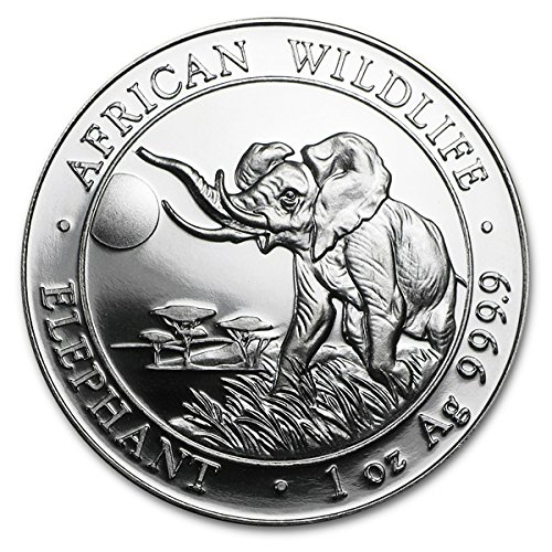 2016 CF Somalian 1 oz Silver African Elephant Coin 999 100 Shillings Brilliant Uncirculated New