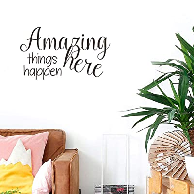 "BIBITIME Wall Decal Quotes Amazing Things Happen Here Sayings Vinyl Sticker for Office Baby Infants Toddlers Nursery Bedroom Children Kids Room Decor Home Art PVC Murals (Black, DIY 13.4"" x 22.8""): Home & Kitchen"