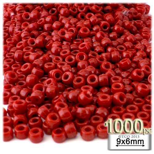 The Crafts Outlet 1000-Piece Plastic Round Opaque Pony Beads, 9 by 6mm, Red