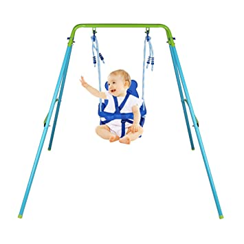 HLC Folding Toddler Blue Secure Swing With Safety Seat For Baby Chirldrens Gift