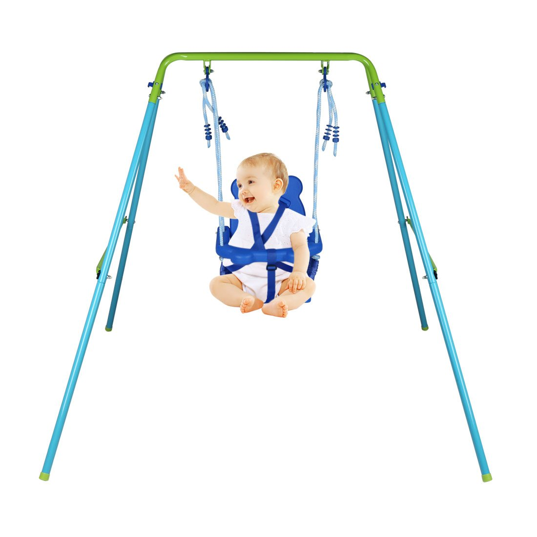 HLC Folding Toddler Blue Secure Swing with safety seat for baby/chirldren's Gift by HLC