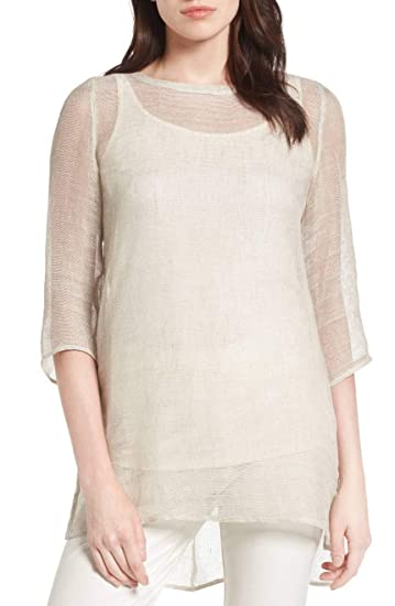 0e2dd9cd32 Image Unavailable. Image not available for. Color  Eileen Fisher Unnatural Organic  Linen Mesh Bateau Neck Tunic ...