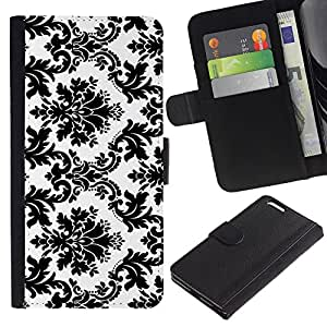 KingStore / Leather Etui en cuir / Apple Iphone 6 PLUS 5.5 / Blanco negro con clase elegante