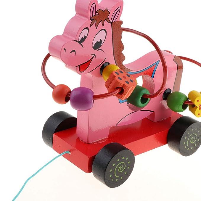Homyl Juguete de Carro de Vaca/Caballo/Elefante de Dibujos Animados Madera Montaña Rusa de Formas Geométricas Juego Educativo para Niños - Caballo Rosa: ...