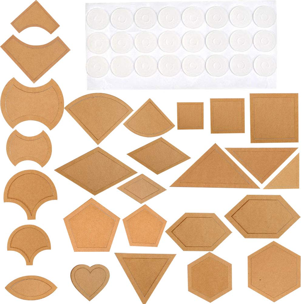 WOWOSS 54 Pcs Acrylic Quilting Templates Ruler and 48 Pcs Adhesive Non-Slip Grips for Quilt Stencils DIY Tool for Leather Quilting Sewing Patchwork Craft by WOWOSS