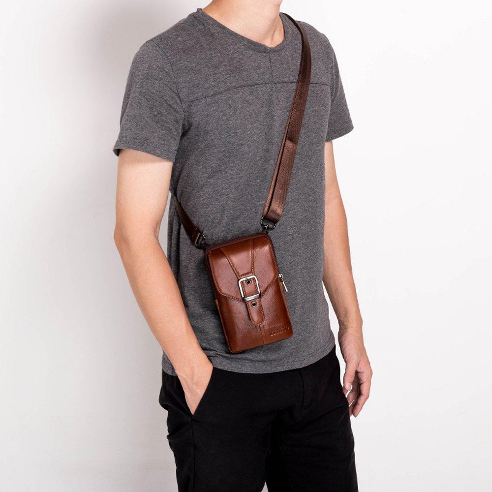 Mens Blet Purse Leg Bag Genuine Leather Waist Bag 4 Style Mini Vertical Holster Belt Clip for Men