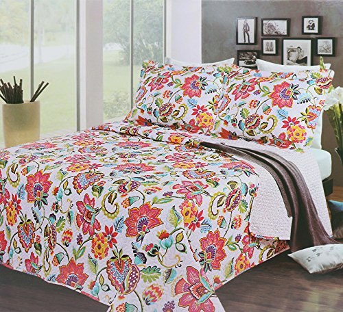 """3-Piece Reversible Oversized Quilt Bedspread Set (Queen Size/86 x 86"""" inch) – Bundle with 2x Super Comfortable Quilted Pillow Shams (26 x 20"""") (Queen Size Quilt Inches)"""