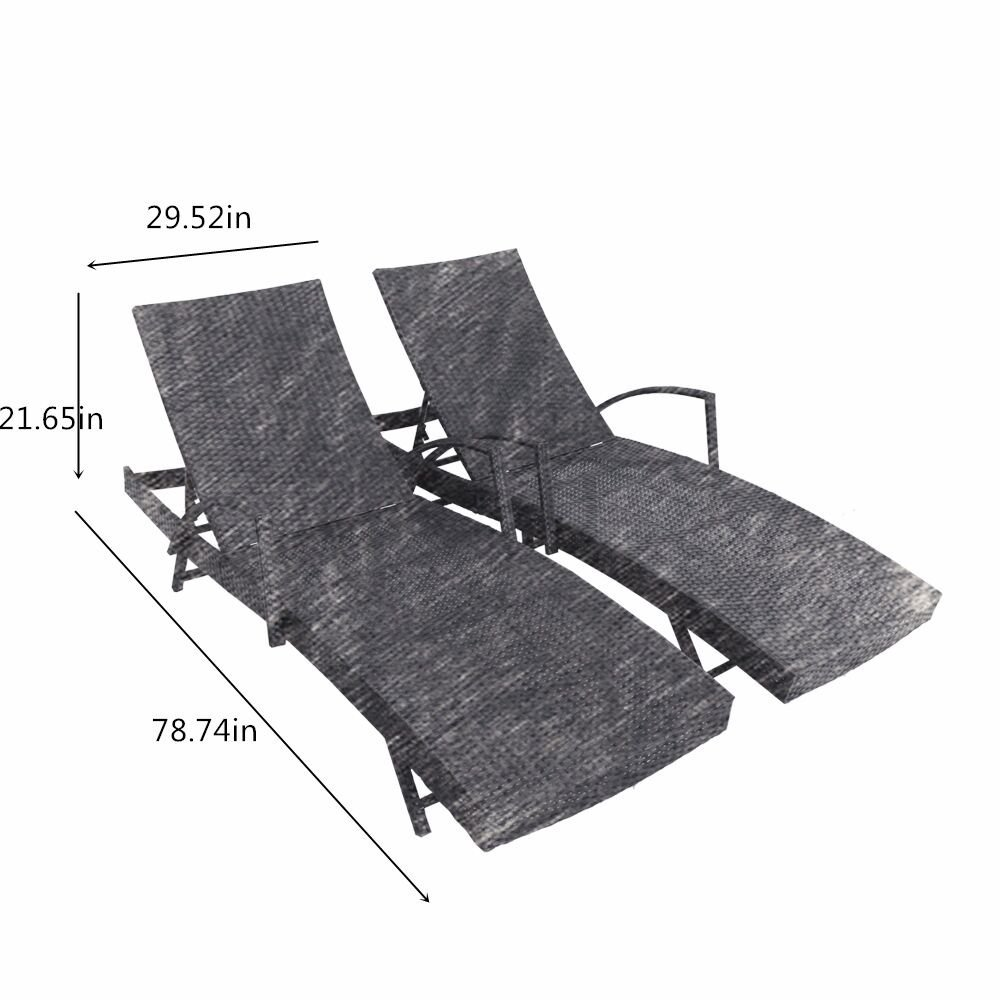 Outdoor Patio Synthetic Backyard Poolside Garden Rattan Wicker Chaise Lounge Chair Set Adjustable with Armrest (Set of Two, Black)