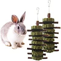 Bunny Chew Toys,2 Pack Pet Snacks Chew Toys Organic Apple Wooden Tree Sticks with Grass Cake Chew Toys for Bunny, Rabbits, Chinchilla, Guinea Pigs, Hamsters, Parrots Other Small Animals (2 Pcak)