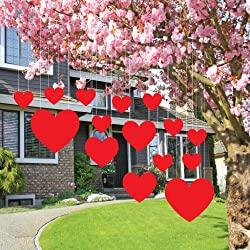 Valentine's Lawn Decorations - Hanging Hearts (Set of 14)