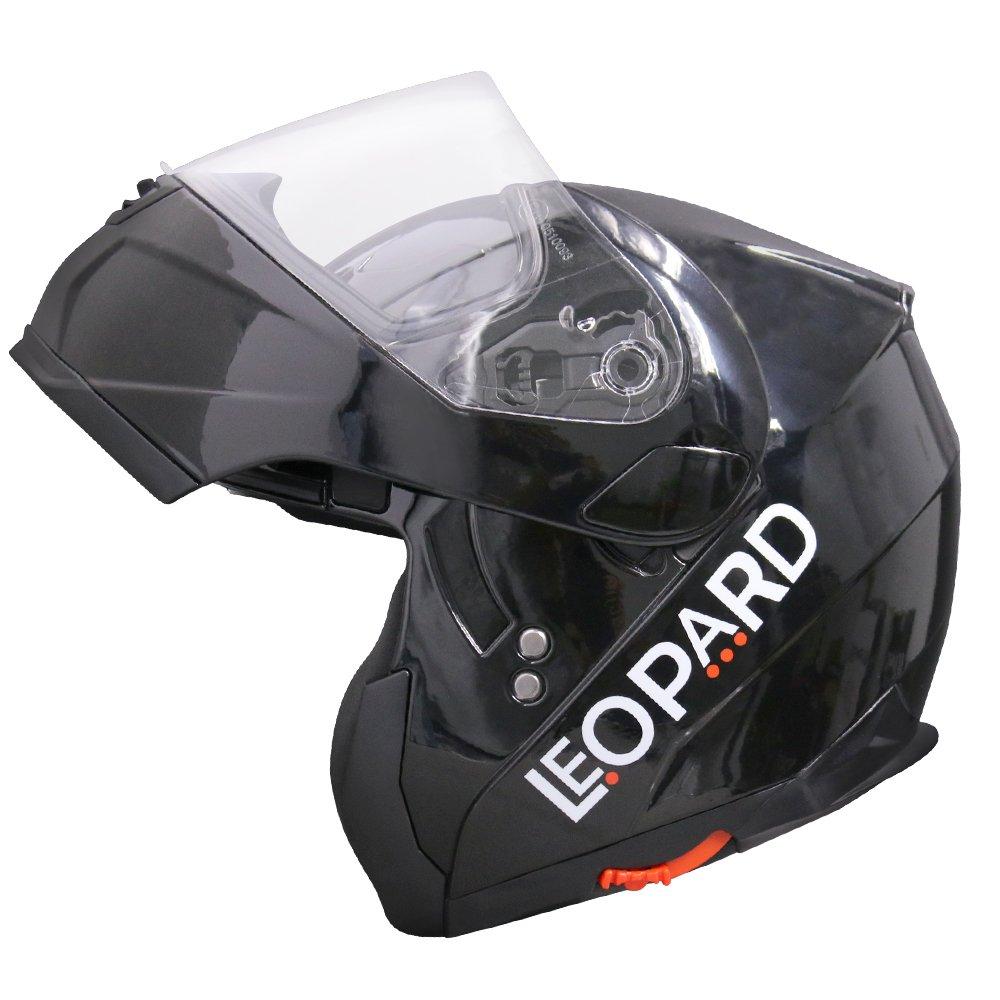 Leopard LEO-838 Double Visor Flip up front Motorcycle Helmet 61-62cm Yellow XL