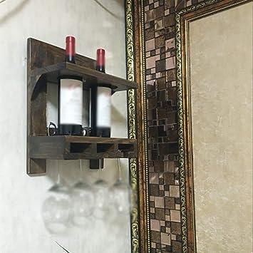 IG Hogar, Muebles Vintage Antiguo Vino Tinto Racking Decoración de Pared de Madera Decoración Bar Restaurante Estante de Gabinete de Vino: Amazon.es: ...