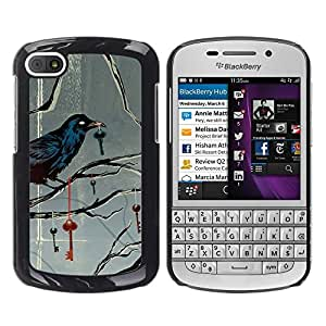 LECELL--Funda protectora / Cubierta / Piel For BlackBerry Q10 -- Key Metaphor Deep Gray Grey --