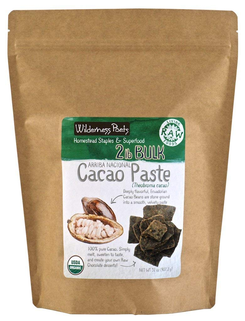 Wilderness Poets Organic Cacao Paste - Made from Stone Ground, Raw 100% Cacao Beans, 2 Pound (32 Ounce)