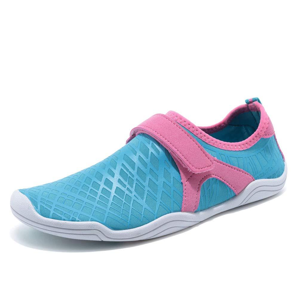 GLOBTOUCH Boy and Girls Athletic Water Shoes Quick-Dry Slip on Aqua Sock for Beach Pool Swim Surf Walking(Toddler/Little Kid/Big Kid) DKSX-Light blue-33