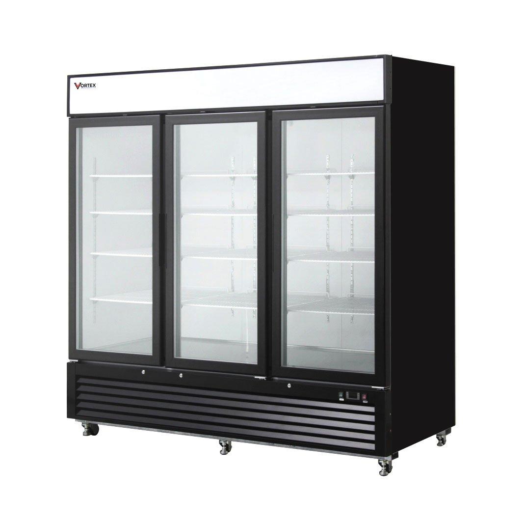 Vortex Refrigeration Commercial 3 Glass Door Merchandiser Freezer - Black - 72 Cu. Ft.